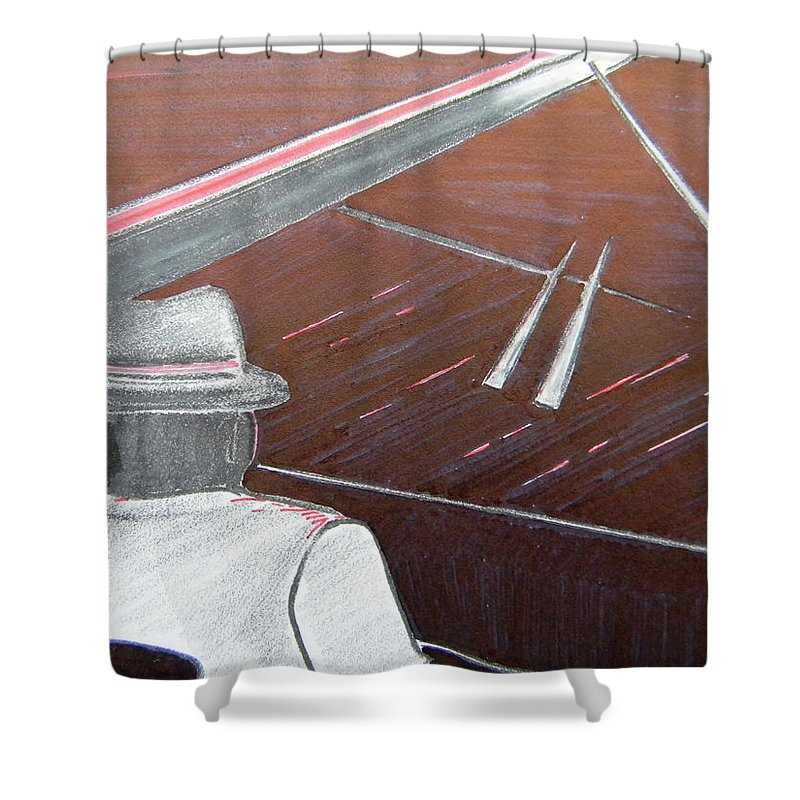 Jazz Shower Curtain featuring the painting Jazz Pianist At The Brigantine Room by Marwan George Khoury