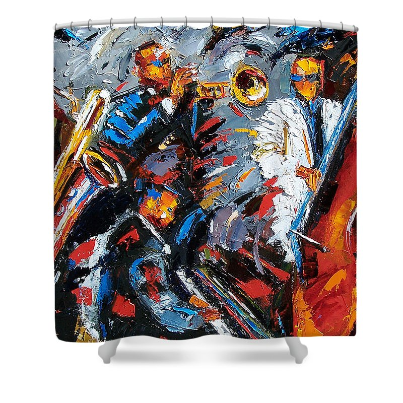 Jazz Shower Curtain featuring the painting Jazz Unit by Debra Hurd