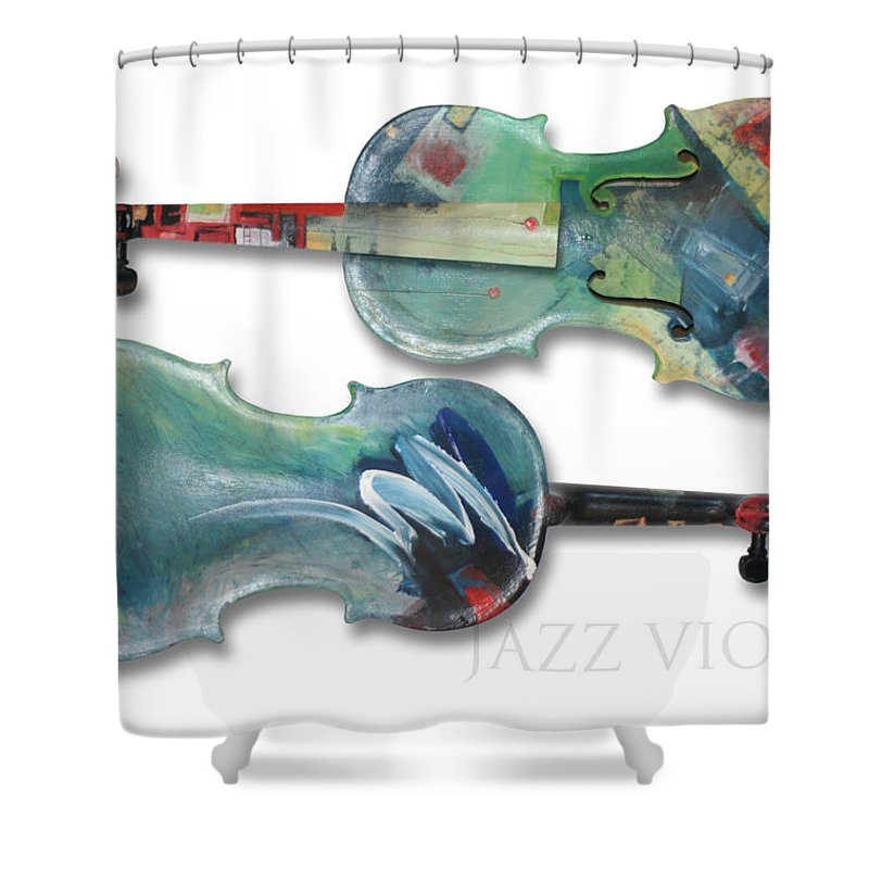 Violin Shower Curtain featuring the painting Jazz Violin - Poster by Tim Nyberg