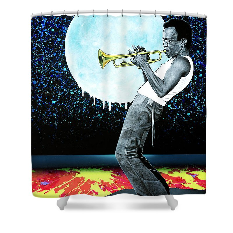 Miles Shower Curtain featuring the painting Jazzman by Snake Jagger
