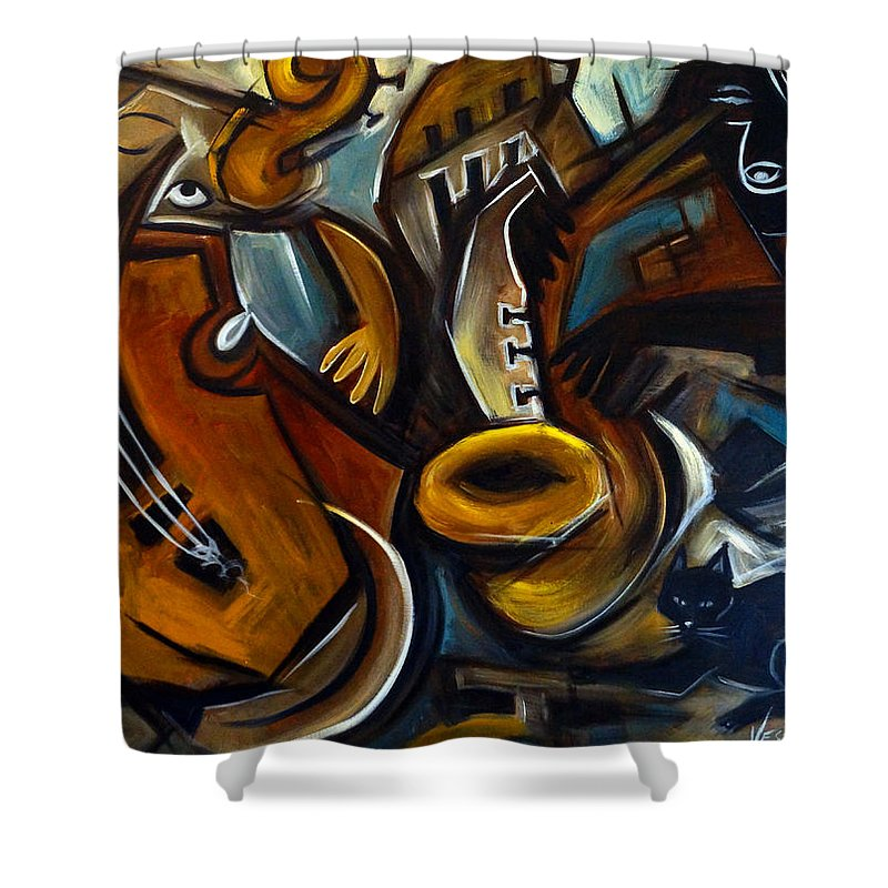Jazz Shower Curtain featuring the painting Black Cat Jazzz by Valerie Vescovi