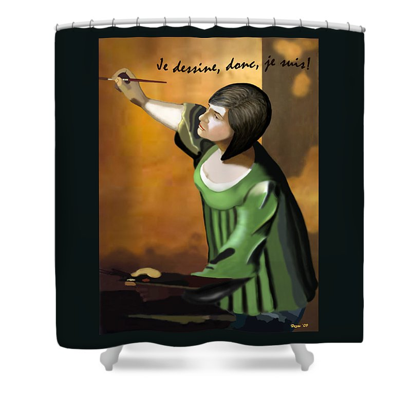 Illustration Shower Curtain featuring the digital art Je Dessine Donc Je Suis by Lois Boyce