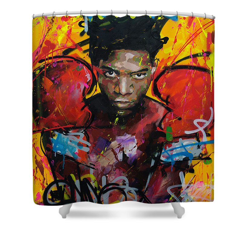 Jean Shower Curtain Featuring The Painting Michel Basquiat By Richard Day