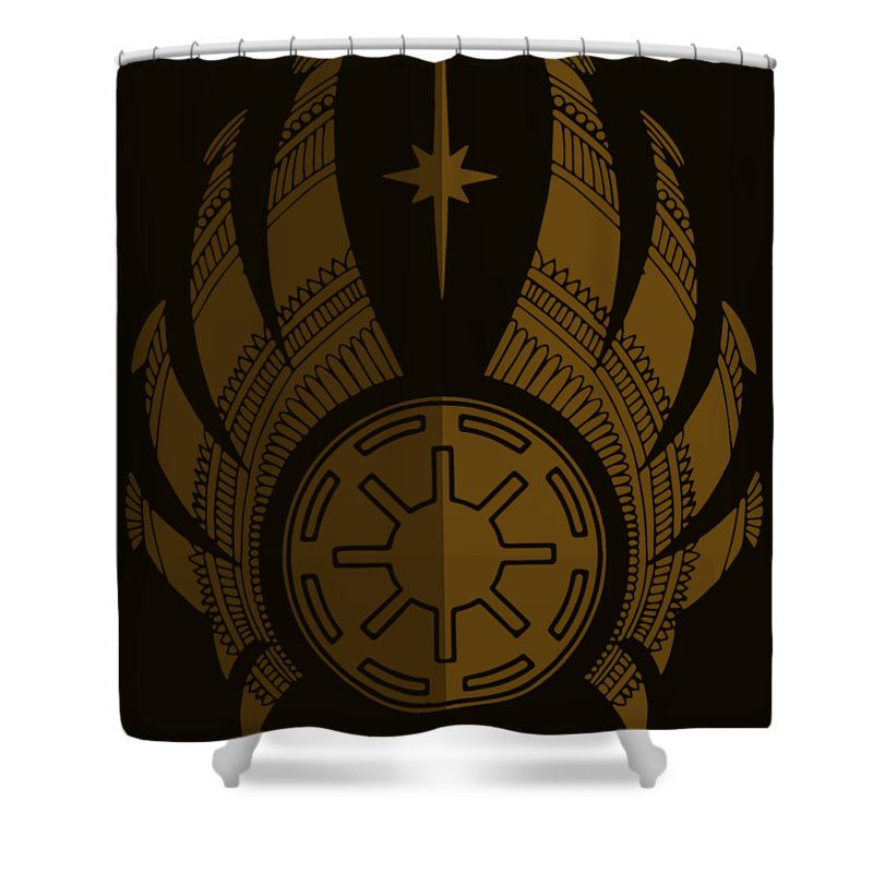 Jedi Shower Curtain featuring the mixed media Jedi Symbol - Star Wars Art, Brown by Studio Grafiikka