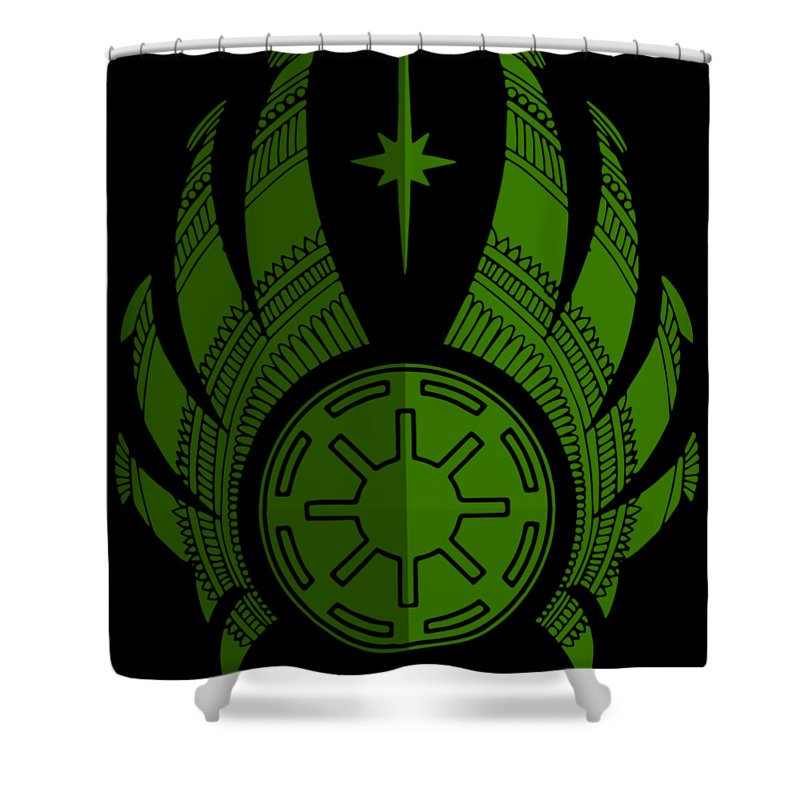 Jedi Shower Curtain featuring the mixed media Jedi Symbol - Star Wars Art, Green by Studio Grafiikka