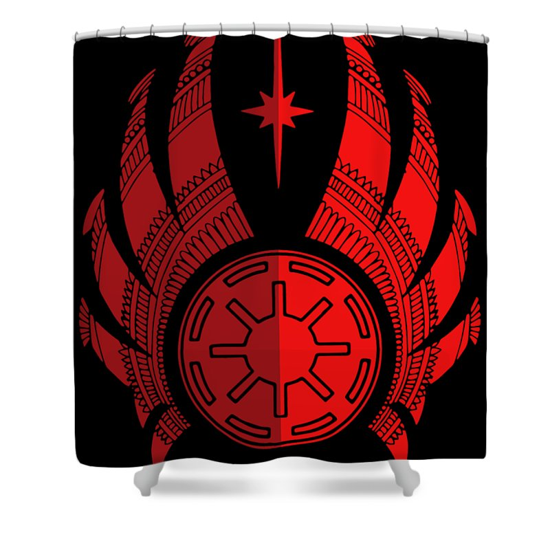 Jedi Shower Curtain featuring the mixed media Jedi Symbol - Star Wars Art, Red by Studio Grafiikka