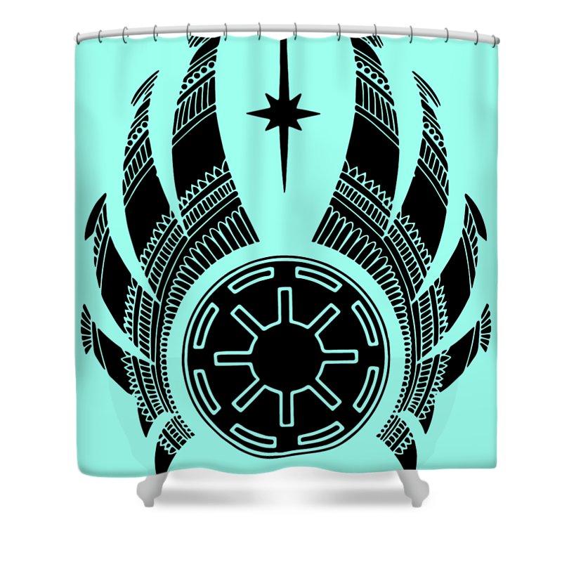 Jedi Shower Curtain featuring the mixed media Jedi Symbol - Star Wars Art, Teal by Studio Grafiikka