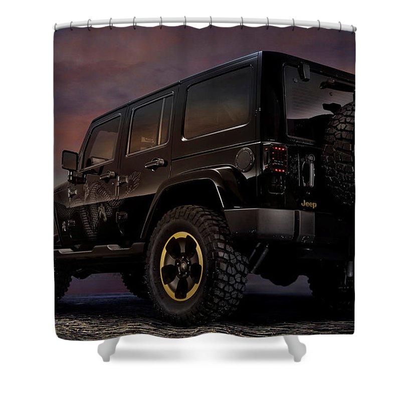 Jeep Shower Curtain featuring the digital art Jeep by Lonna Egleston