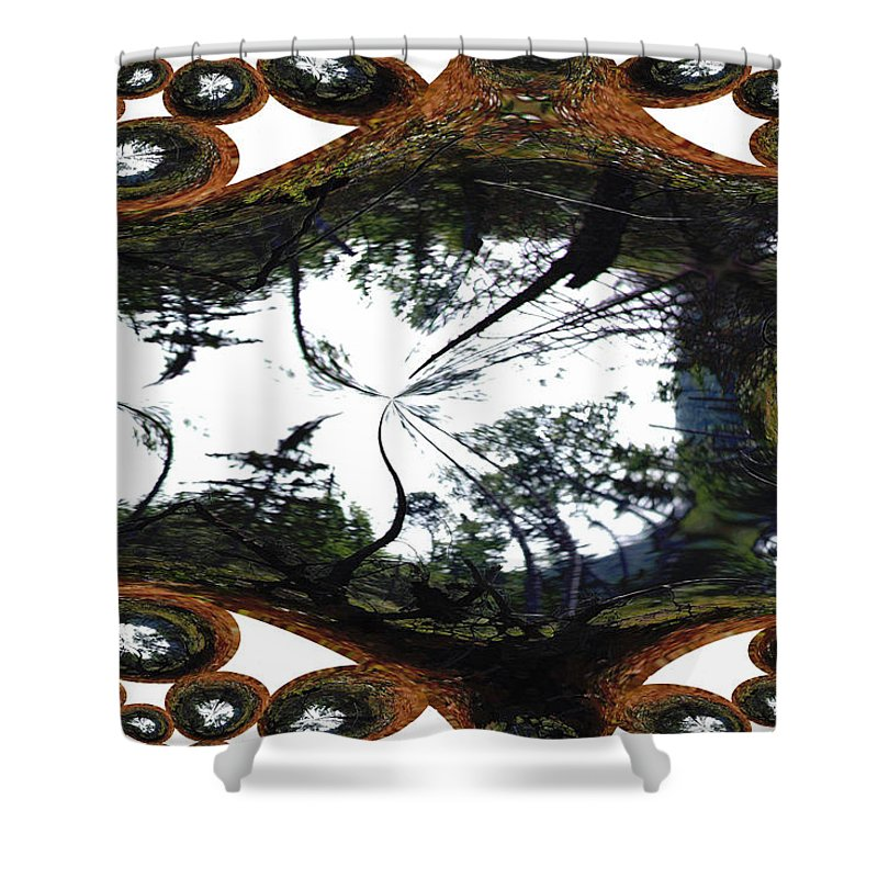 Trees Forest Life Cells Abstract Earth Sky Scenery Weird Different Green Land Shower Curtain featuring the photograph Jellin by Andrea Lawrence