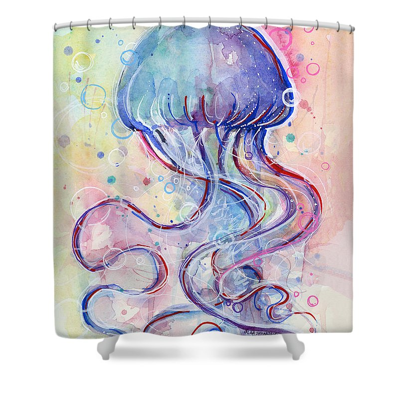 Fish Shower Curtain featuring the painting Jelly Fish Watercolor by Olga Shvartsur