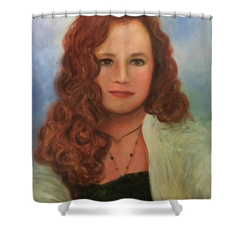 Portrait Shower Curtain featuring the painting Jennifer by Randy Burns