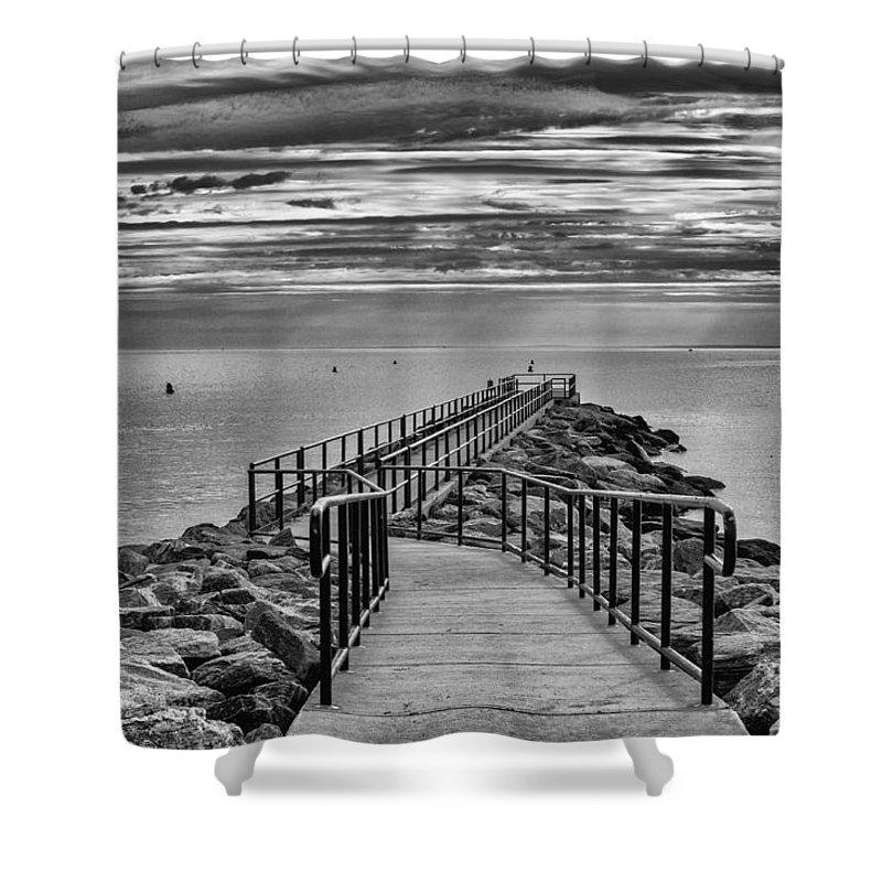 Beach Shower Curtain featuring the photograph Jennings Beach Dock by Michael Gallitelli