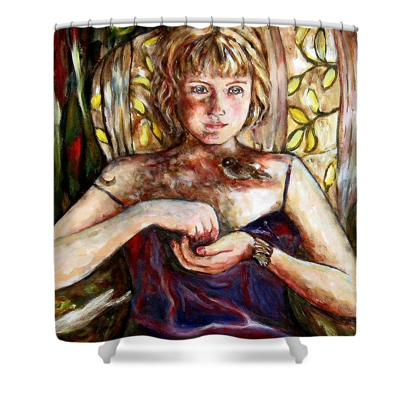 Morning Light Shower Curtain featuring the painting Girl And Bird Painting by Frances Gillotti