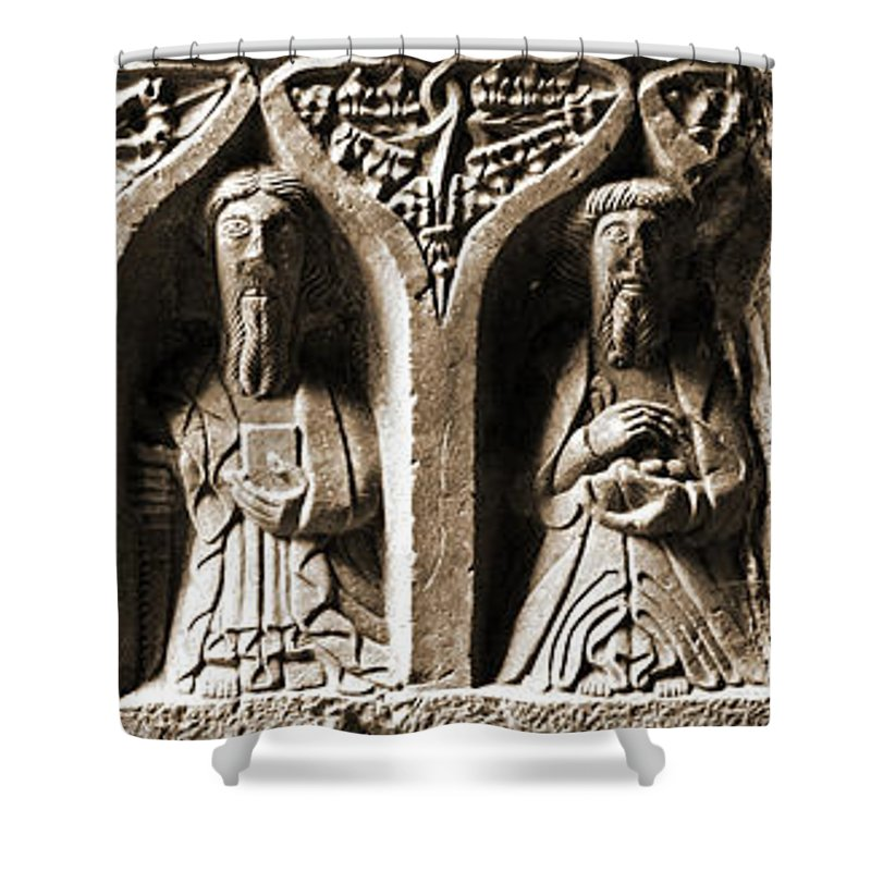 Jerpoint Shower Curtain featuring the photograph Jerpoint Abbey Irish Tomb Weepers Saints County Kilkenny Ireland Sepia by Shawn O'Brien