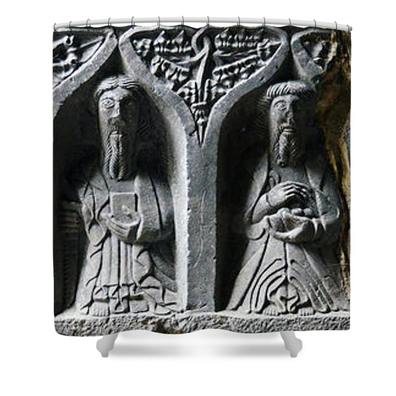 Jerpoint Shower Curtain featuring the photograph Jerpoint Abbey Irish Tomb Weepers Saints County Kilkenny Ireland by Shawn O'Brien
