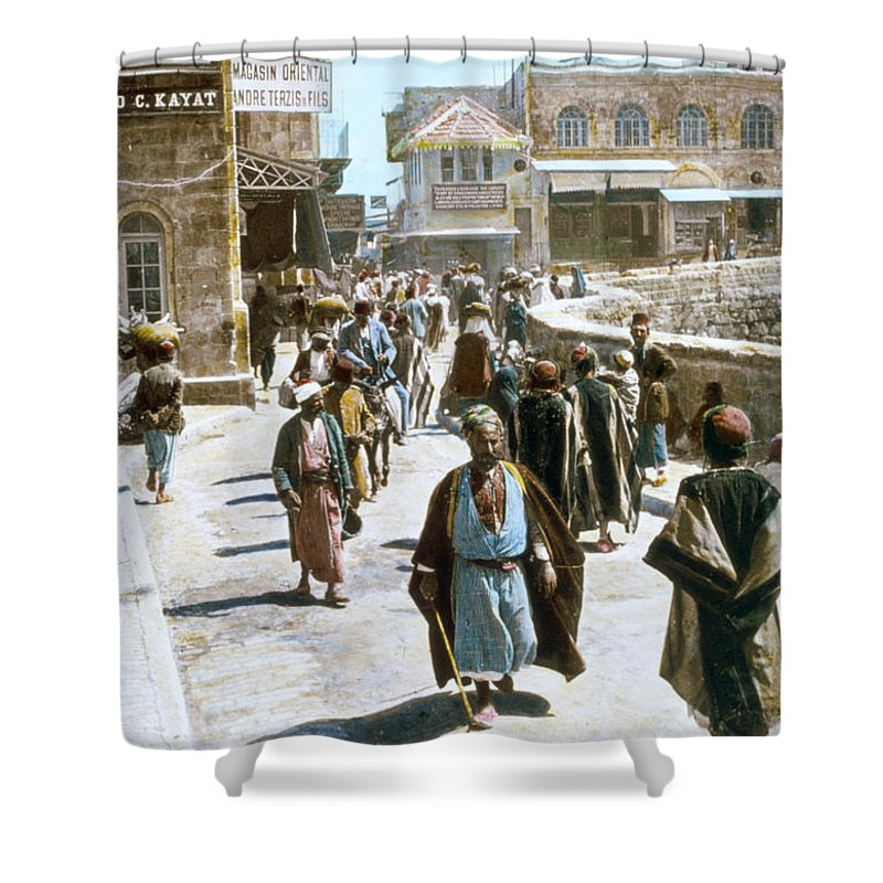 1950s Shower Curtain featuring the photograph Jerusalem Street Scene by Granger