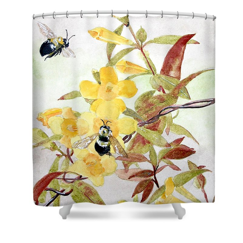 Jasmine Shower Curtain featuring the painting Jessamine Bee Mine by Jean Blackmer