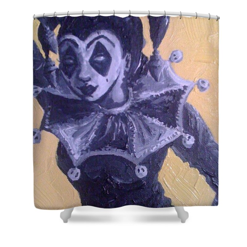 Jester Girl Shower Curtain featuring the painting Jester Girl #1 by Misty Greyeyes