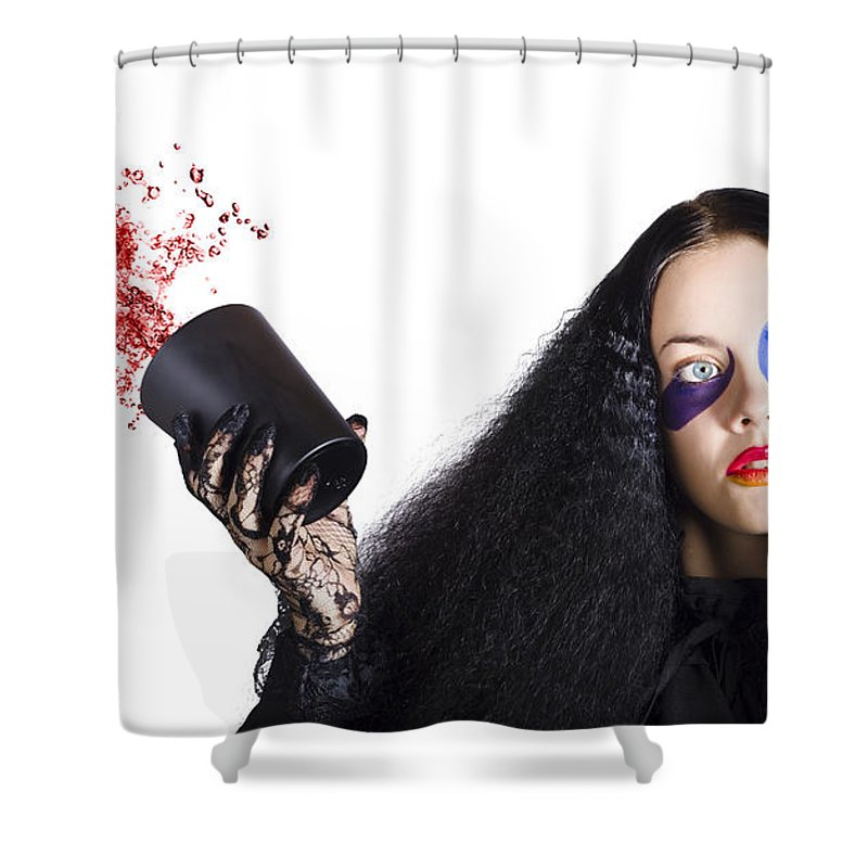 Jester Shower Curtain Featuring The Photograph Throwing Away Wine By Jorgo Photography