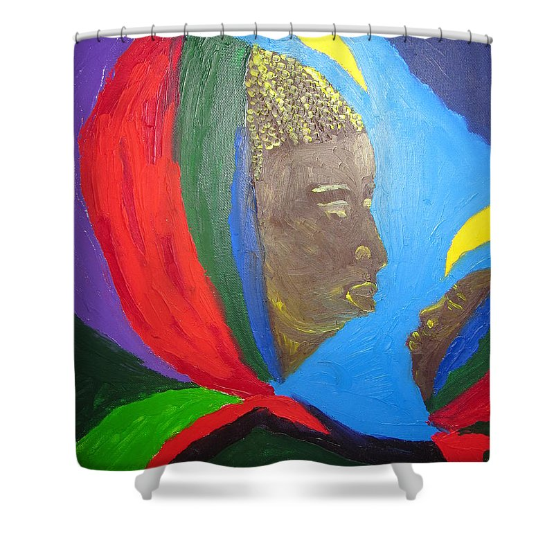 Jesus Shower Curtain featuring the painting Jesus And His Mother Mary by Gloria Ssali