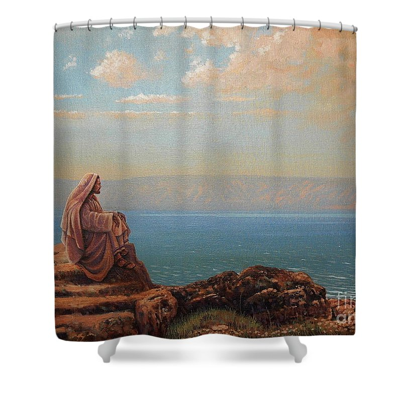 Jesus Shower Curtain featuring the painting Jesus By The Sea by Michael Nowak