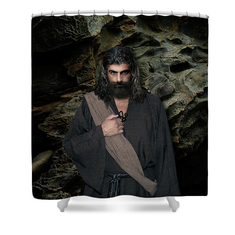Alex-acropolis-calderon Shower Curtain featuring the photograph Jesus Christ- Be Still And Know That I Am God by Acropolis De Versailles
