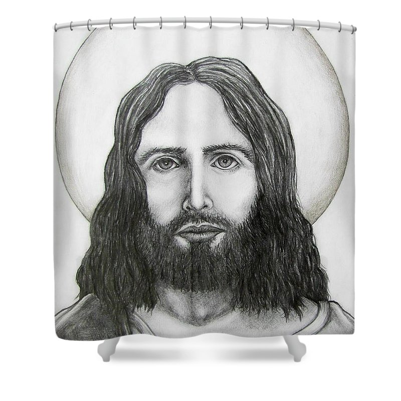Michael Shower Curtain featuring the drawing Jesus Christ by Michael TMAD Finney