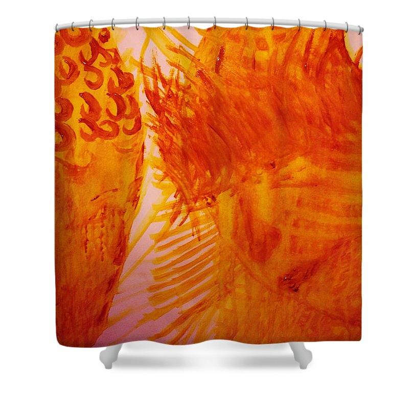 Jesus Shower Curtain featuring the painting Jesus On Calvary Meets His Mother Mary by Gloria Ssali