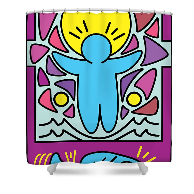 Jesus Shower Curtain Featuring The Digital Art Walking On Water Keith Haring Version By Carlo