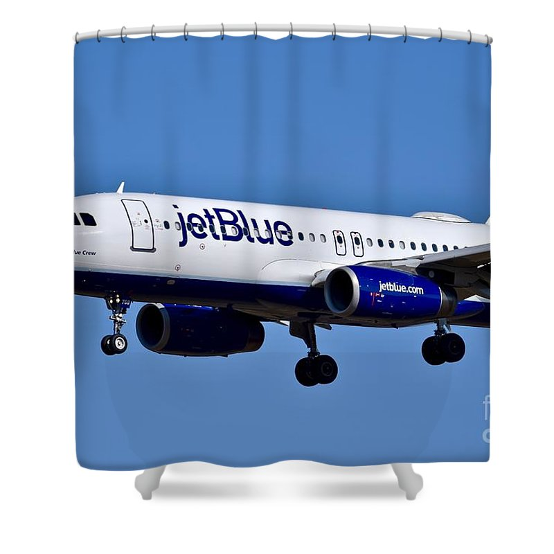 Air Transport Shower Curtain featuring the photograph jetBlue Airlines plane in flight by Jeramey Lende