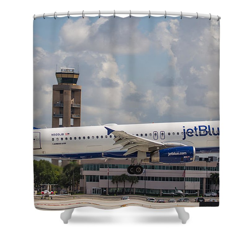 Airline Shower Curtain featuring the photograph Jetblue Fll by Dart and Suze Humeston