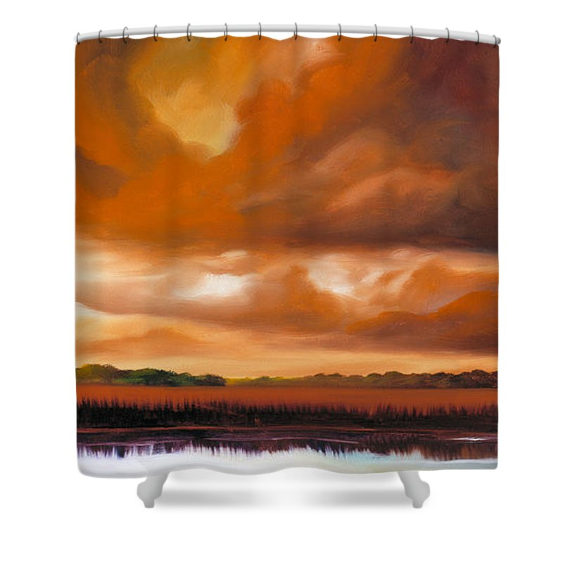 Clouds Shower Curtain featuring the painting Jetties On The Shore by James Christopher Hill