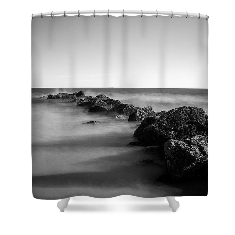 Jetty Shower Curtain featuring the photograph Jetty In The Sea by Steve Booke