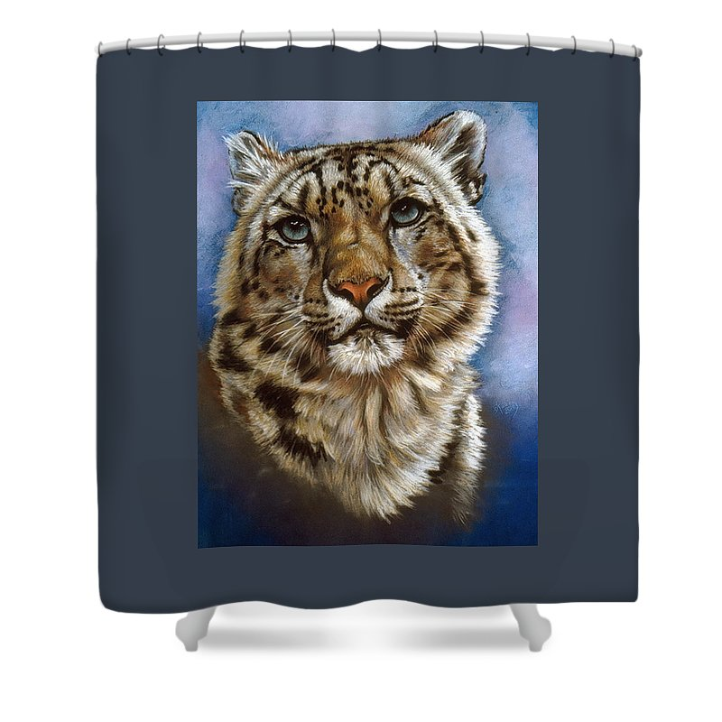 Snow Leopard Shower Curtain featuring the pastel Jewel by Barbara Keith