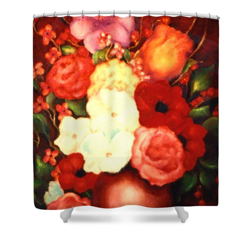 Flowers Shower Curtain featuring the painting Jewel Flowers by Jordana Sands