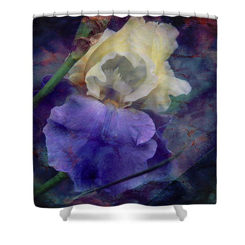 Iris Shower Curtain featuring the photograph Jeweled Iris by Toni Hopper
