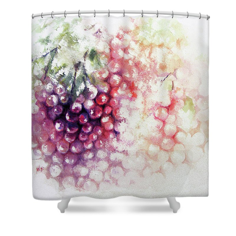 Grapes Shower Curtain featuring the painting Jewels On The Vine by Rachel Christine Nowicki