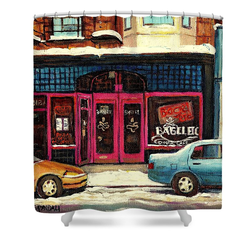 Carole Spandau Shower Curtain featuring the painting Jewish Montreal By Streetscene Artist Carole Spandau by Carole Spandau