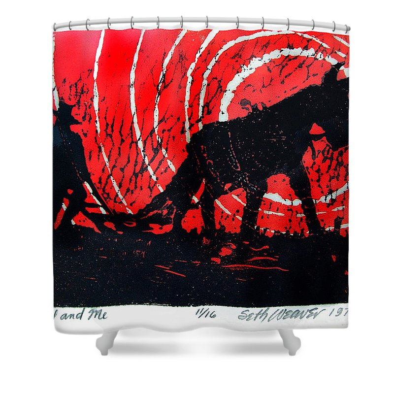 Jezebel And Me Shower Curtain featuring the relief Jezebel And Me by Seth Weaver