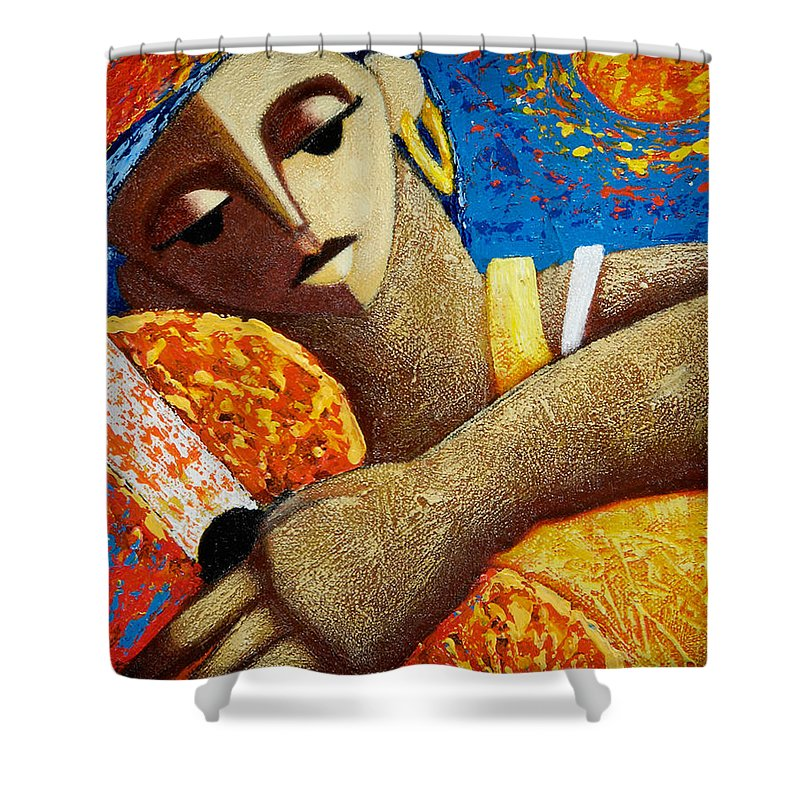 Puerto Rico Shower Curtain featuring the painting Jibara Y Sol by Oscar Ortiz