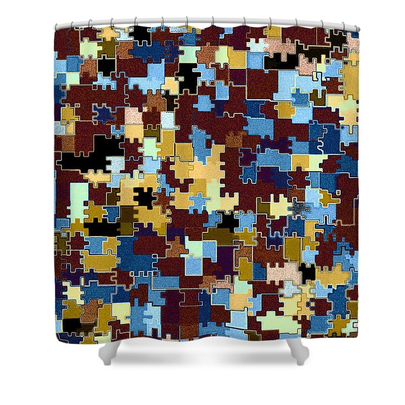 Abstract Shower Curtain featuring the digital art Jigsaw Abstract by Will Borden