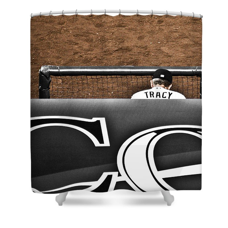 Americana Shower Curtain featuring the photograph Jim Tracy Rockies Manager by Marilyn Hunt
