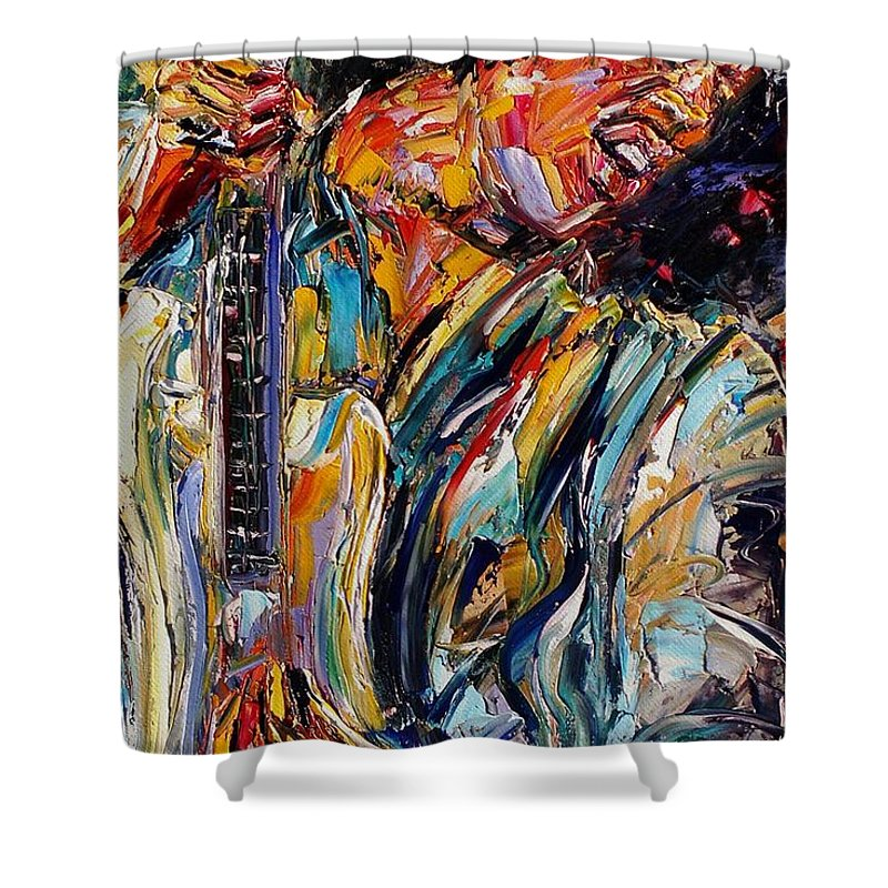 Jimi Hendrix Painting Shower Curtain featuring the painting Jimi Hendrix by Debra Hurd