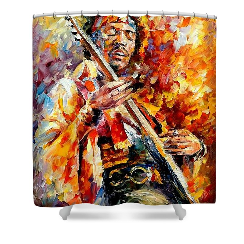 Music Shower Curtain featuring the painting Jimi Hendrix by Leonid Afremov