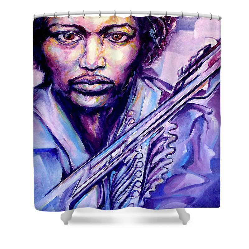Shower Curtain featuring the painting Jimi by Lloyd DeBerry