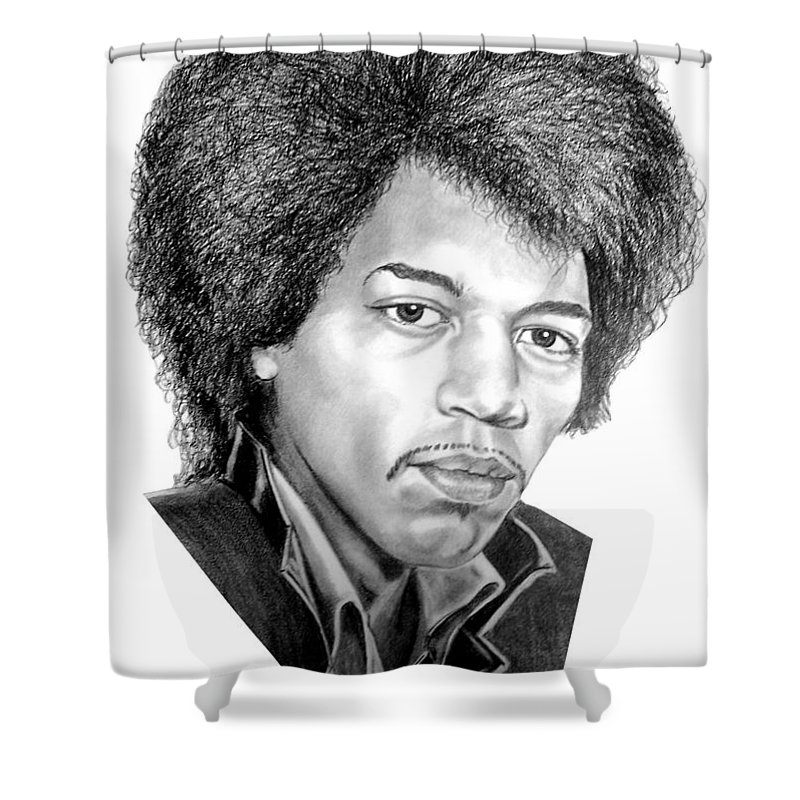 Jimmi Hendrix Shower Curtain featuring the drawing Jimmi Hendrix By Murphy Art. Elliott by Murphy Elliott