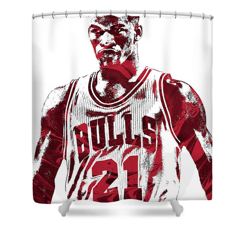 Jimmy Butler Shower Curtain Featuring The Mixed Media Chicago Bulls Pixel Art 2 By