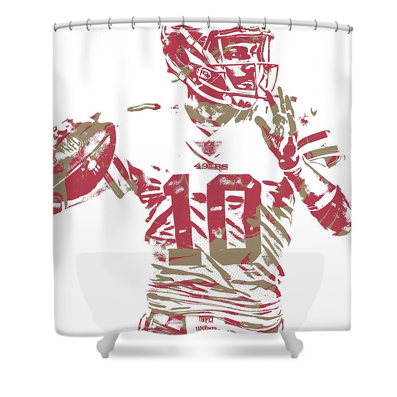 Jimmy Garoppolo Shower Curtain Featuring The Mixed Media San Francisco 49ers Pixel Art 1