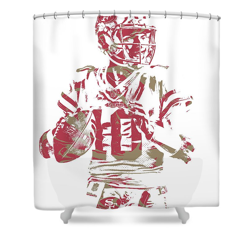 Jimmy Garoppolo Shower Curtain Featuring The Mixed Media San Francisco 49ers Pixel Art 4