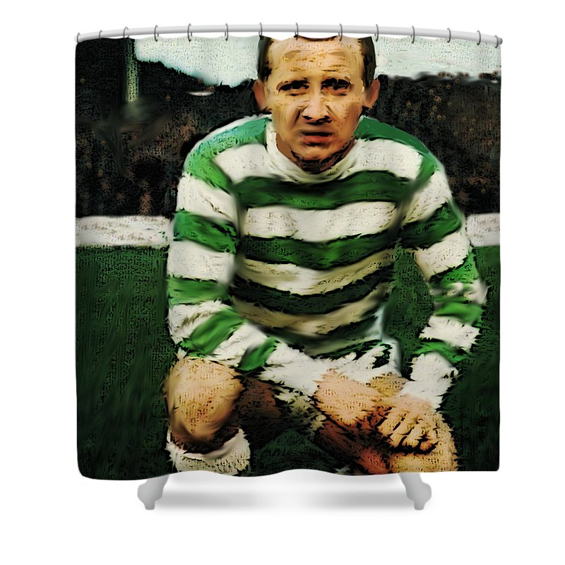 Jimmy Johnstone Shower Curtain featuring the painting Jimmy Johnstone by Enki Art